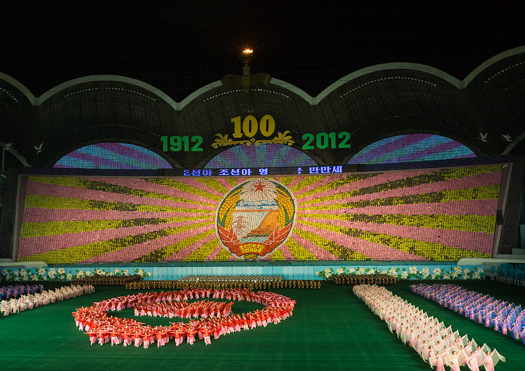 Panoramic view of the Arirang mass games with North Korean performers in may day stadium, Pyongan Province, Pyongyang, North Korea