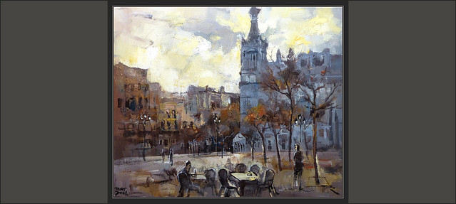 MADRID-PINTURA-HOTEL-REINA VICTORIA-PLAZA-SANTA ANA-HOTELES-ATARDECER-PAISAJES-URBANOS-CUADROS-ARTISTA-PINTOR-ERNEST DESCALS-