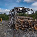 Burned bus skeleton on the Carretera Austral