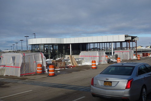 ROC Greater Rochester International Airport new approach road canopy construction 2018 March 5, photo 3