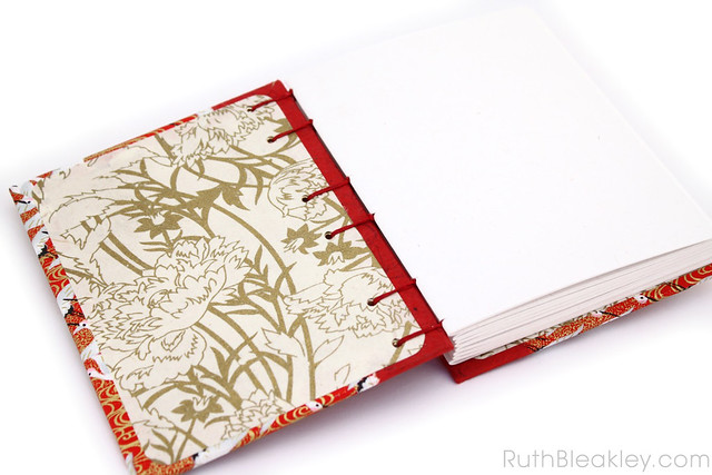Red Crane Japanese Paper Journal with Unlined Pages handmade by Ruth Bleakley - 4