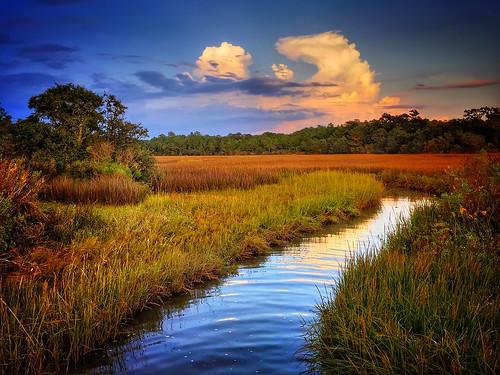 water bayou stream canal coden alabama gulfcoast mobilecounty sunset marshgrass marshland stormy field marsh usa