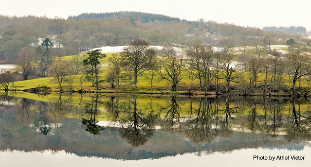Reflections...Snow covered hills overlooking Esthwaite water....Lake District