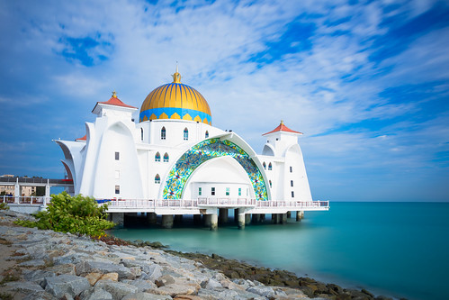 architecture asia beach blue building city cloud day dome famous floating historical islam islamic landmark landscape malacca malaysia masjid melaka mosque muslim outdoor place pulau religion religious scene scenery sea selat sky spiritual strait symbol tour tourism unesco view white my