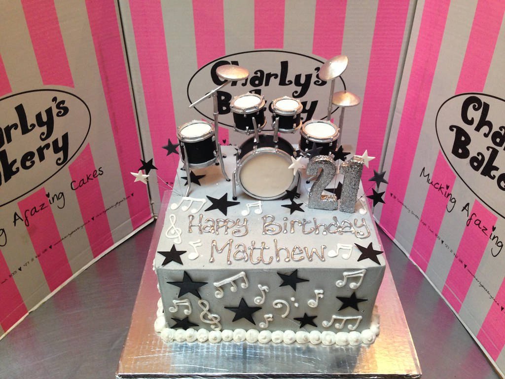 Terrific 21St Birthday Cake Iced Grey Butter Icing With 3D Drum Set Flickr Personalised Birthday Cards Veneteletsinfo