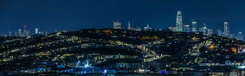 sanfrancisco california nikon d810 color night dark black urban january winter 2018 boury pbo31 city bayview district skyline salesforce transamerica over view blue