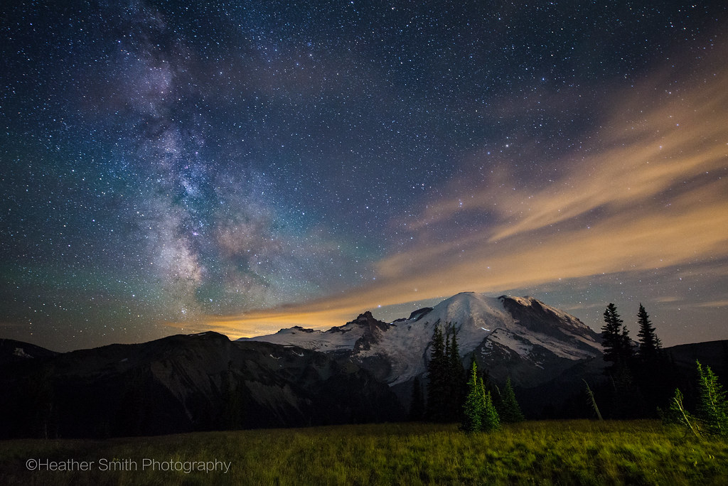 Mt. Rainier basking in the light of the Milky Way