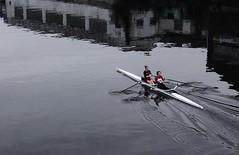 Double Scull Rowing. River Trent. Nottingham. Dec  2016