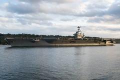USS John C. Stennis (CVN 74) transits Puget Sound, Jan. 16, after getting underway for training. (U.S. Navy/MC3 Charles D. Gaddis IV)