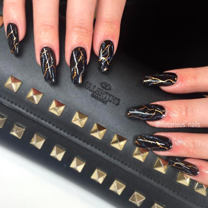 gel,nails,cool,designs,black,gold,marble,coffin,long