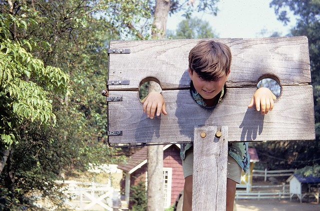 My punishment for refusing to mow the back yard. Mom and dad didn't mess around when it came to motivational techniques and behavior modification! Somewhere in one of those Pilgrim recreation villages which used to exist in Connecticut. July 1969