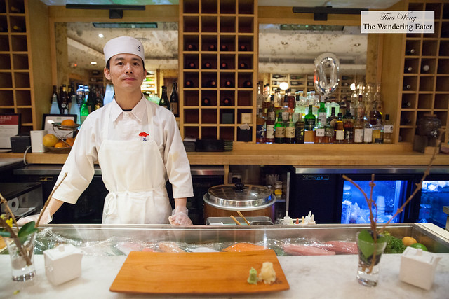 Sushi chef at the bar area