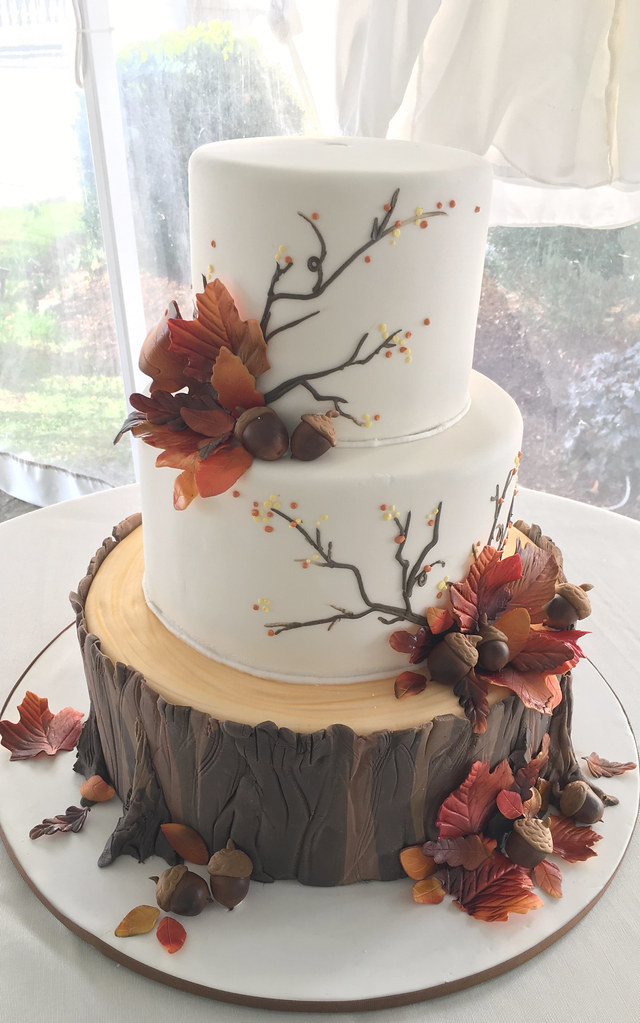 Fall Wedding Cakes.Tree Stump Fall Wedding Cake Oakleaf Cakes Flickr