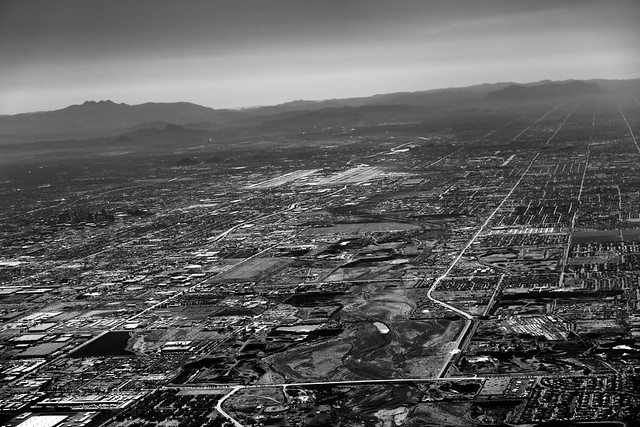 A View Across the City Grid of Phoenix and the Phoenix Sky Harbor International Airport (Black & White)