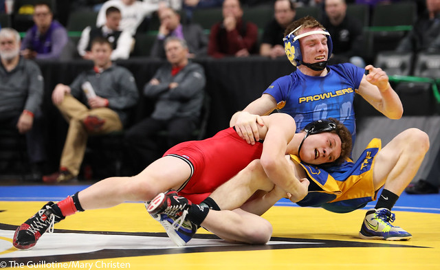 3rd Place Match - Jacob Prunty (Worthington) 38-3 won by decision over Cade Lundeen (Thief River Falls) 42-7 (Dec 6-2). 180303BMC5786