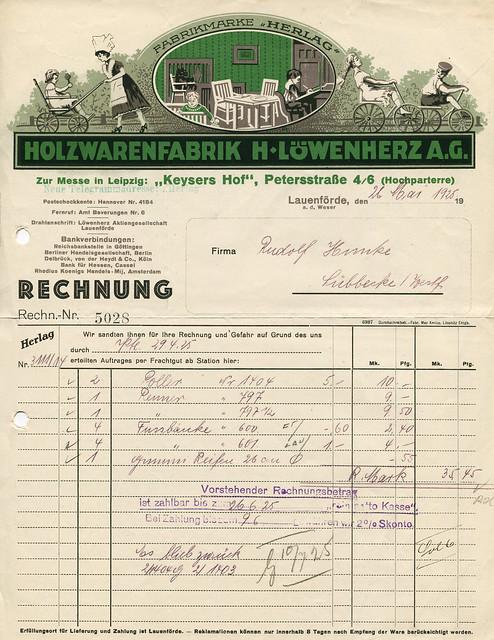 Rechnung der Holzwarenfabrik H. Löwenherz A