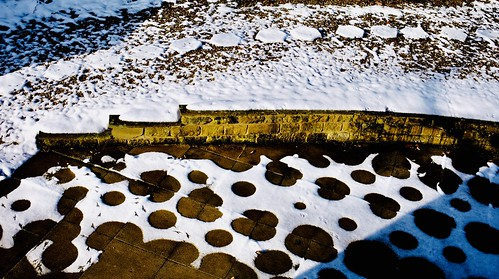 Patterns in melting snow.