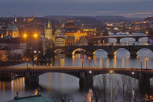 prague czechrepublic vltava bridge night letna charlesbridge andreapucci smetana