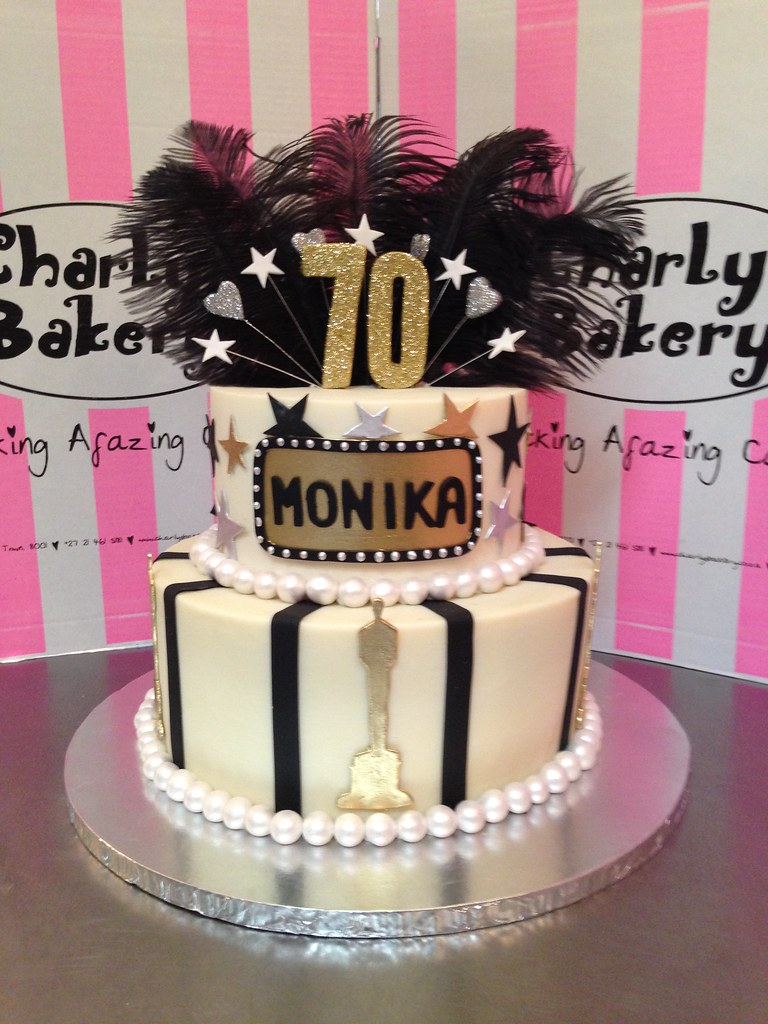 Outstanding Oscars Themed 2 Tier 70Th Birthday Cake With Film Name Log Flickr Personalised Birthday Cards Epsylily Jamesorg