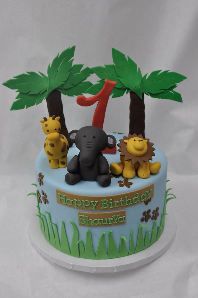 Stupendous Jungle Animal Birthday Cake Jenny Wenny Flickr Funny Birthday Cards Online Alyptdamsfinfo