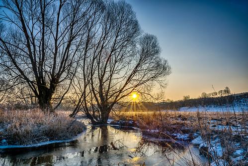 sunrise regnitz upper franconia germany landscape nature stream reflections sun hdr