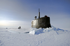 In this file photo, USS Connecticut (SSN 22) surfaces above the ice during a previous ICEX. (U.S. Navy/MC2 Kevin S. O'Brien)