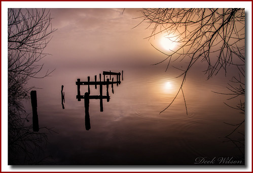 loughneagh jetty woodenjetty water ripples northernireland ulster lough sunrise for landscape seascape mist misty foggy