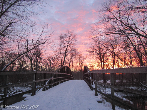 illinois lakecounty wrightwoodsforestpreserve preserves skiing snow sunset bridge desplainesriver