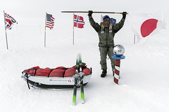 Yasu Ogita arrives at the South Pole after 50 Days Unsupported From The Coast