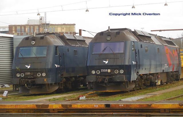 Dirty Diesels ME1535 + ME1518 await servicing at DSB loco workshops Copenhagen