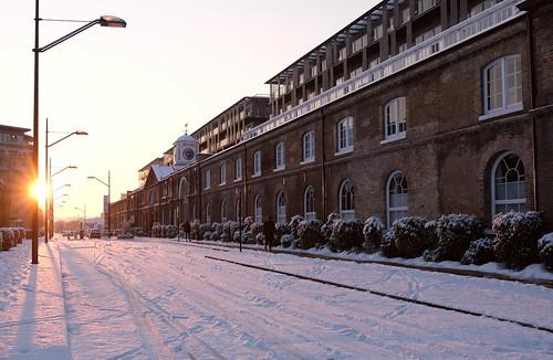 woolwich royalwoolwich woolwicharsenal london snow snowy sun sunrise beastfromtheeast