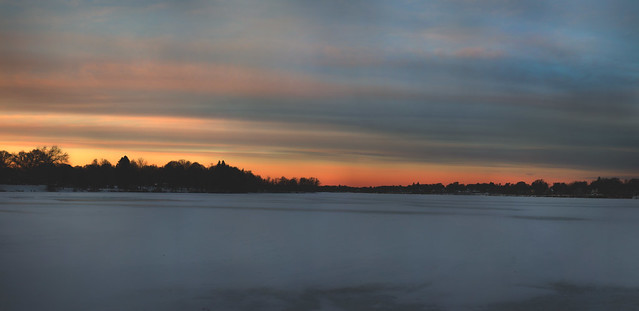sunset over frozen Lake Quannapowitt; Wakefield, Massachusetts (2017)
