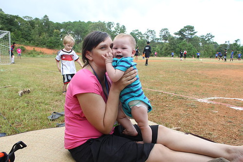 Bec watches two of her three boys during one of her husband's soccer matches with Sports Friends - Photo courtesy of Bec Oakley.