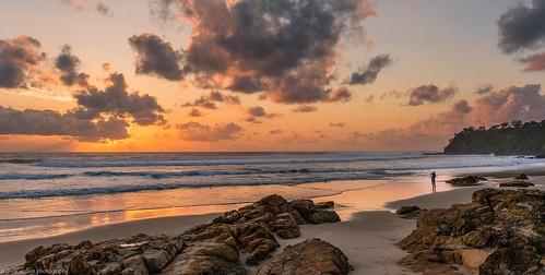 coolum beach queensland australia sunrise sand surf ocean waves water rocks