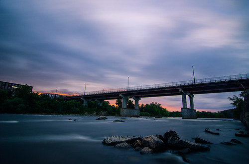 sunset manchester newhampshire downtown bridge colors cloudscape urban river longexposure city photography warm flow newengland millyard riverwalk sky rocks