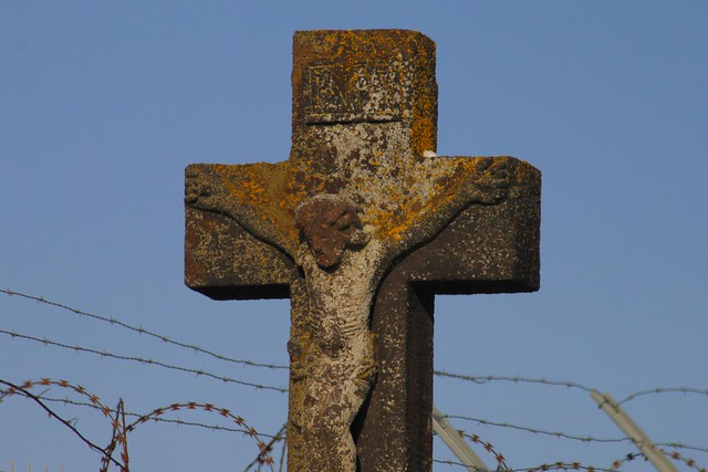Old Cross in front of Barbed Wire