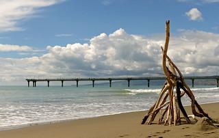 Beach Art.New Brighton Beach. NZ   by Bernard Spragg