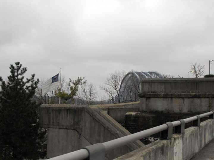Cincinnati ohio people purple bridge March 2010