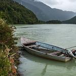 Boat on the Rio Cochrane near Caleta Tortel