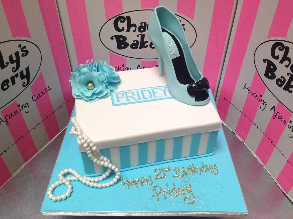 Wondrous Stiletto Shoebox 21St Birthday Cake In Pastel Blue And W Flickr Funny Birthday Cards Online Kookostrdamsfinfo