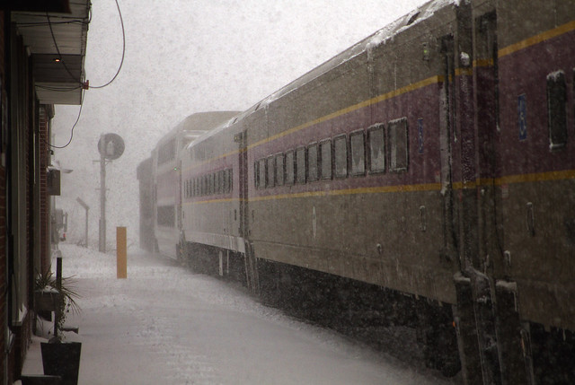 Inbound train to North Station, Boston, during Bombogenesis (2018); Wakefield, Massachusetts