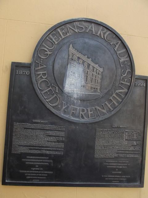 Queen Street Chambers - Queen Street, Cardiff - bronze plaque - Queens Arcade