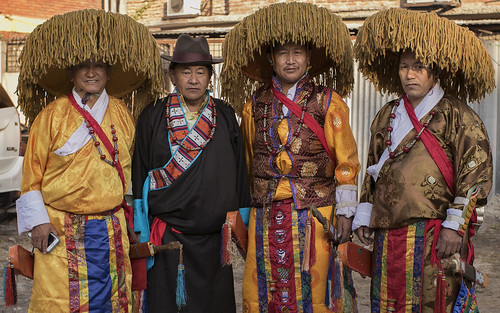Men with tibetan traditional dress