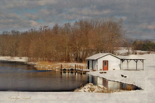 carolynlandi snow snowy woods pennyslvania structure water lake pond dock shack reflections belfastpa northamptoncounty lakehouse boathouse usa clouds landscape art picturesque scenic coth5 texturebybefunky befunky texture