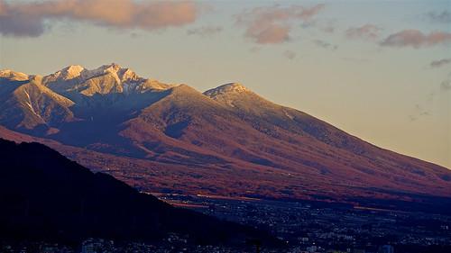 winter sunset mountain japan landscape