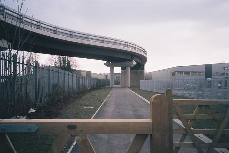 Metrobus bridge (and closed footpath)