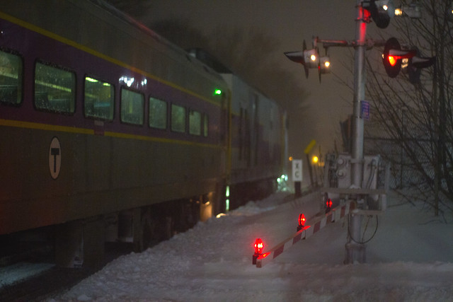 outbound train from North Station at Wakefield, Massachusetts, during Bombogenesis (2018)