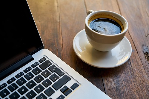 Coffee Computer Laptop workspace - Must Link to https://coffee-channel.com | by Coffee-Channel.com