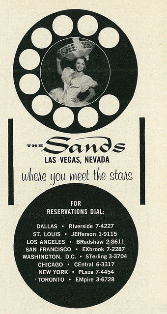 1959 Ad, Sands Hotel in Las Vegas, with Pretty Woman, Playboy Magazine