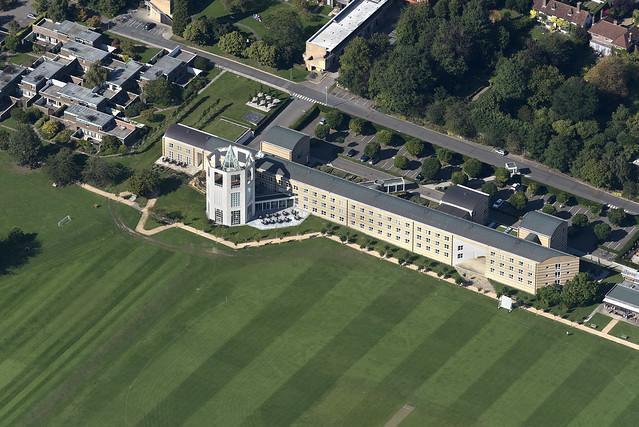 Aerial of the Møller Centre at Churchill College - Cambridge University